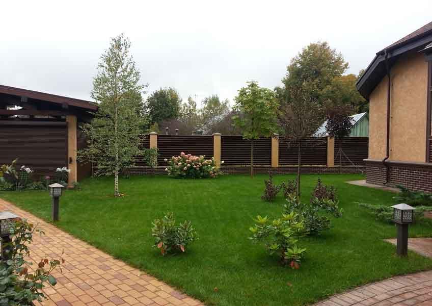 озеленение участка 12 соток: газон, посадка деревьев